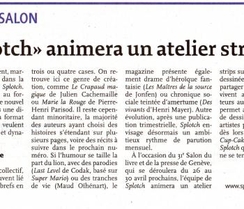 SPLOTCH! dans Le Quotidien Jurassien du 20 avril 2017